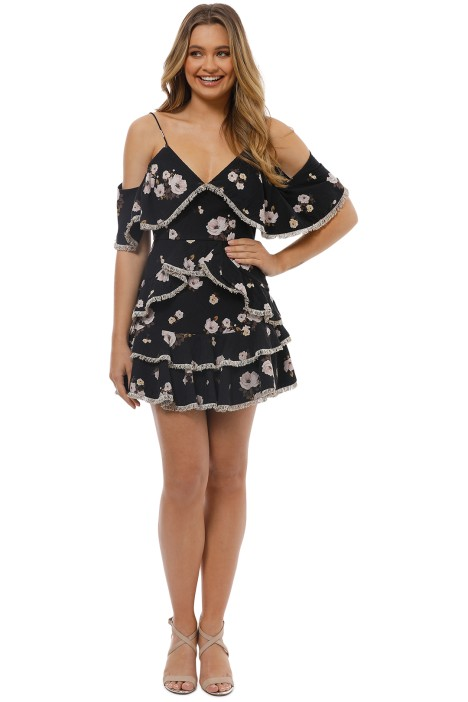 Talulah - Vintage Floral Mini Dress - Black Floral - Front