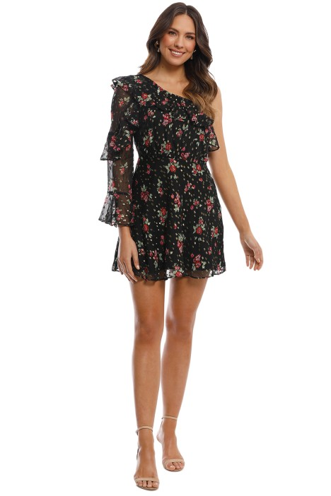 Talulah - Way Back When LS Mini Dress - Black Rose Print - Front