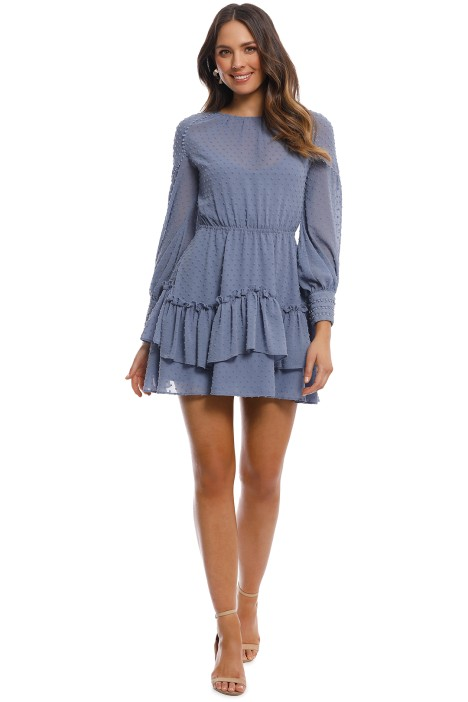 alulah - Sweet Allure LS Mini Dress - Pale Blue - Front