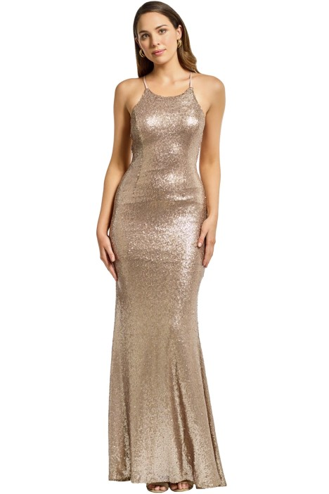 Tania Olsen - Sadie Sequin Gown - Gold - Front