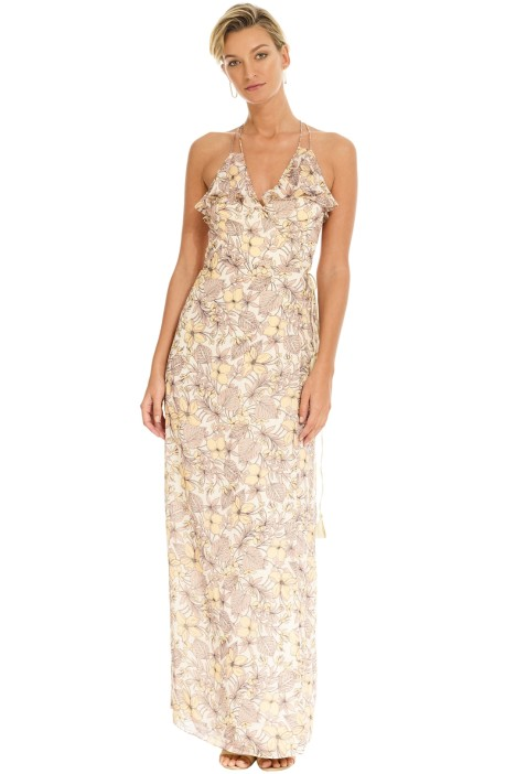 e66f3b2430e The Jetset Diaries - Frangapani Maxi Dress - Golden Floral - Front