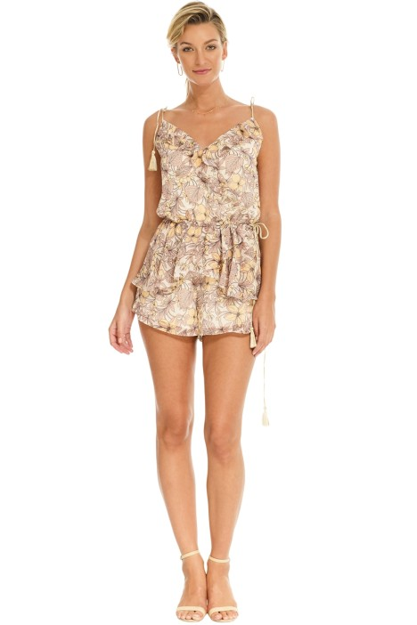 The Jetset Diaries - Frangapani Romper - Golden Floral - Front