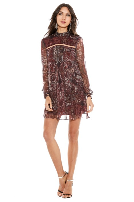 The Jetset Diaries - Labyrinth Paisley Mini Dress - Burgundy - Front