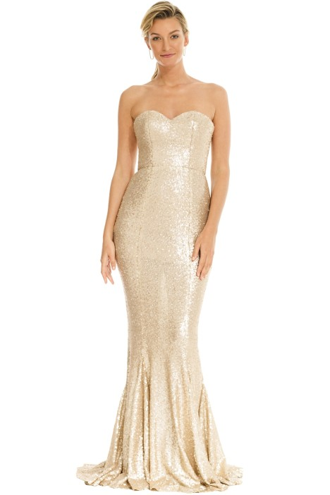 Gigi Gown in Matte Gold by Theia for Hire | GlamCorner