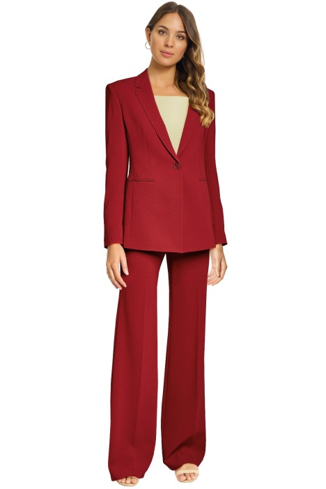 Theory - Crepe Power Jacket and Pant - Burgundy Red - Front
