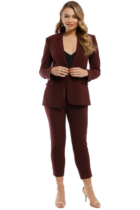 2f81643a0e2 Theory - Essentials Jacket and Pant Set - Burgundy - Front