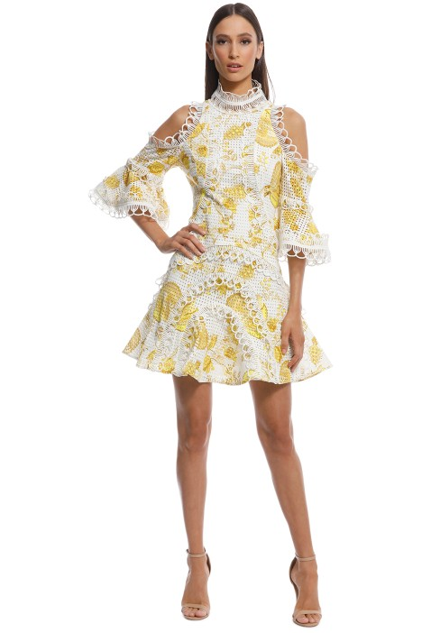 6ea747d29570 Chintz Print Spliced Dress in Yellow Multi by Thurley for Rent ...