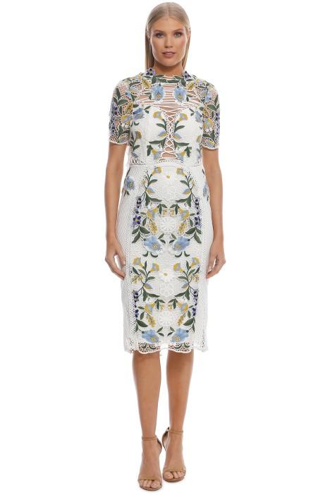 Thurley - Vasette Lace Midi Dress - Blue Ivory - Front