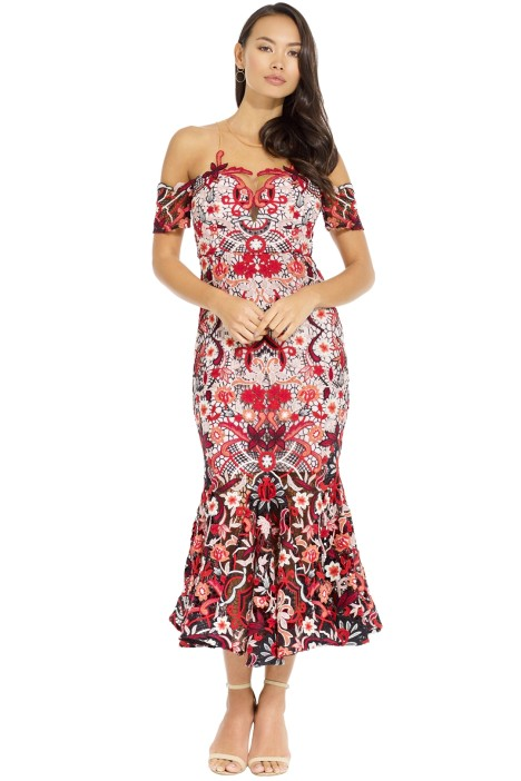 a4a37c2a55b1 Venus Dress in Red Multi by Thurley for Hire | GlamCorner