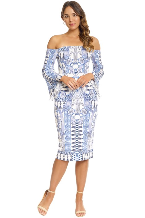 Thurley - Wedgewood Print Bonded Dress - Blue - Front