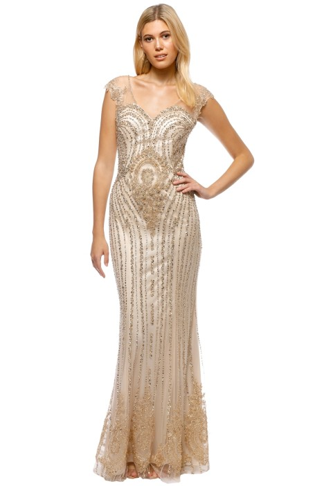 Tinaholy - Angelina Sequin Gown - Gold - Front