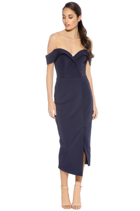 Tinaholy - Navy Sweetheart Midi Dress - Navy - Front