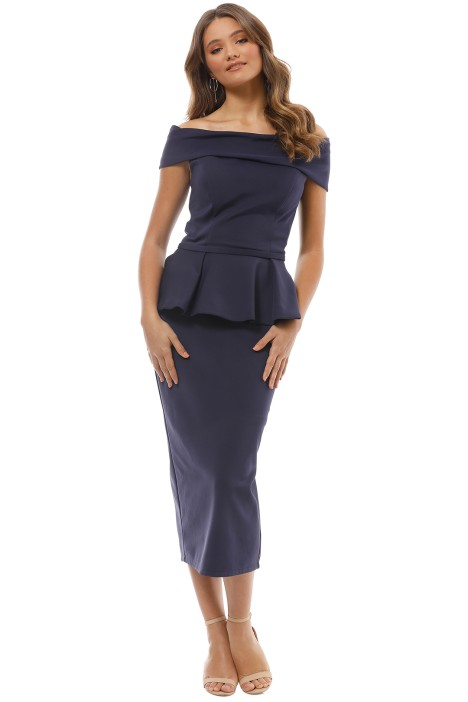 Tinaholy - Navy Off Shoulder Peplum Dress - Front