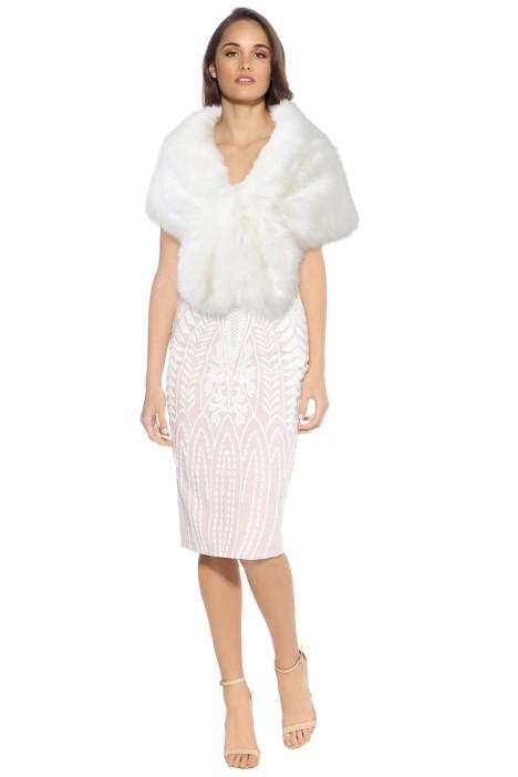 Tulip Bridal - Faux Fur Wrap - Ivory - Front
