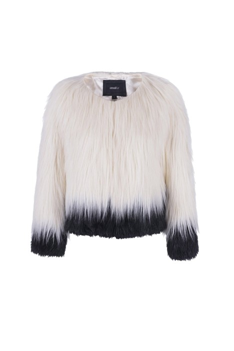 Unreal Fur - Fire and Ice Jacket - Ivory and Black - Front