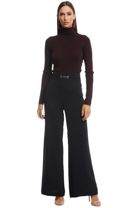 Veronika Maine - Drapey Crepe Wide Leg Pant - Black - Front