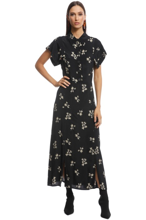 Veronika Maine - Spotted Sprigs Shirt Dress - Black - Front