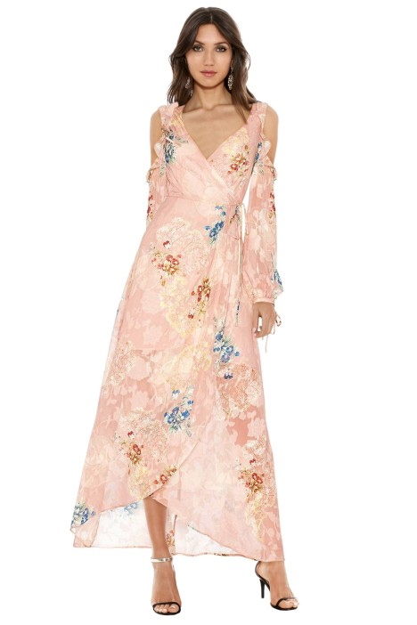 We Are Kindred - Hayley Frill Cold Shoulder Dress - Floral Pink - Front