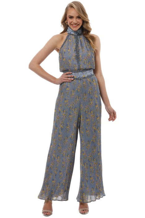 We Are Kindred - Helena Pleated Jumpsuit - Blue Floral - Front
