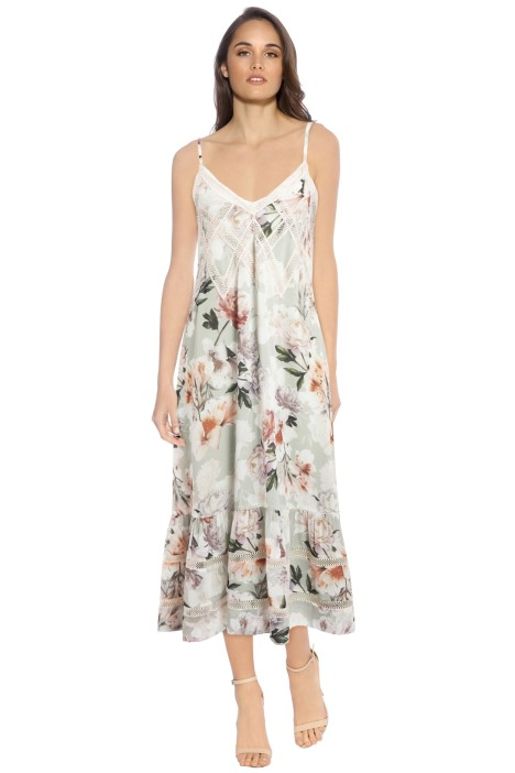 We Are Kindred - Magnolia Midi Dress - Green Floral - Front