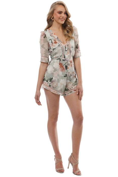 211707457b3 We Are Kindred - Magnolia Romper - Green Floral - Side