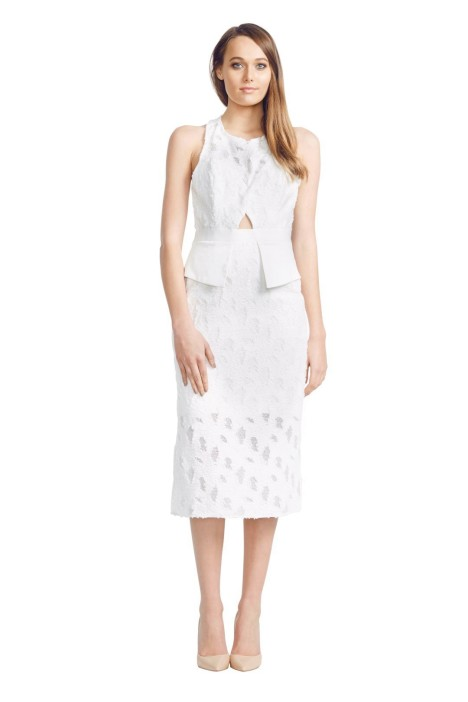 White Suede - Black Overlay Dress - White - Front