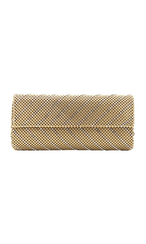 Whiting and Davis - Crystal Chevron Clutch - Front - Gold