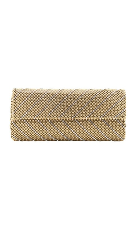 Whiting and Davis - Crystal Chevron Clutch - Gold - Front