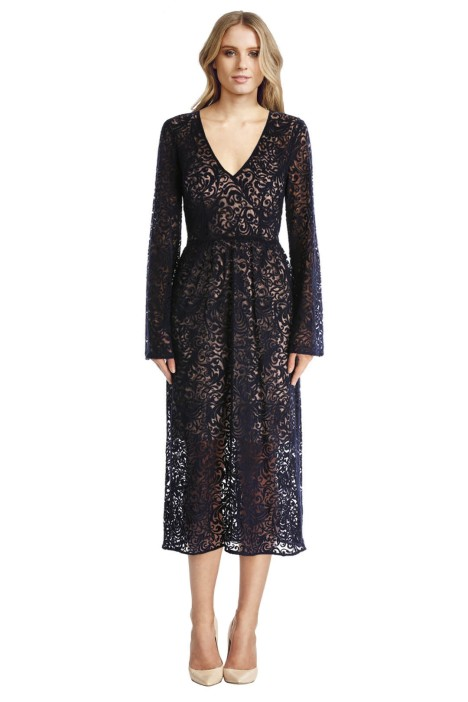 Yeojin Bae - Embroidered Lace Marianne Dress - Black Lace - Front