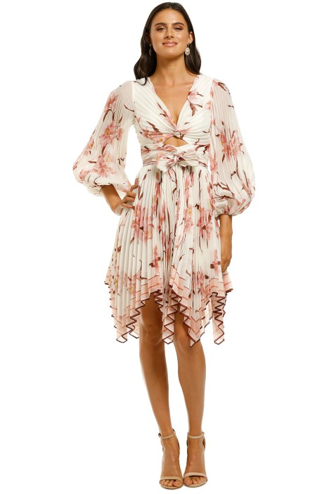 Zimmermann-Corsage-Pleat-Mini-Dress-Ivory-Peach-Orchid-Front