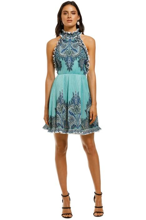 Zimmermann-Moncur-Ruffle-Neck-Mini-Dress-Aqua-Paisley-Front