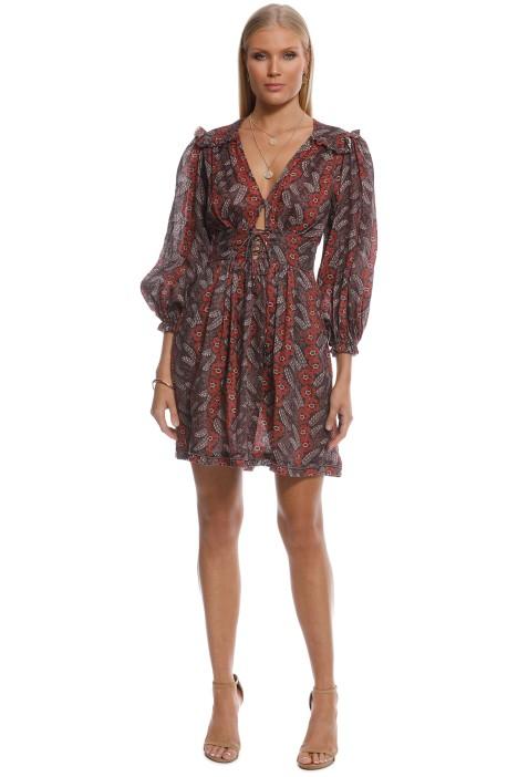 Zimmermann - Bayou Corset Tie Front Dress - Print - Front