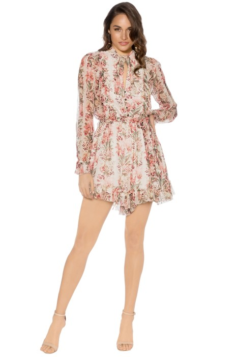 Zimmermann - Folly Neck Tie Playsuit - Floral Pink - Front