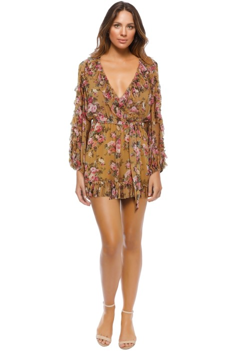 Zimmermann - Golden Ruffle Playsuit - Gold Floral - Front