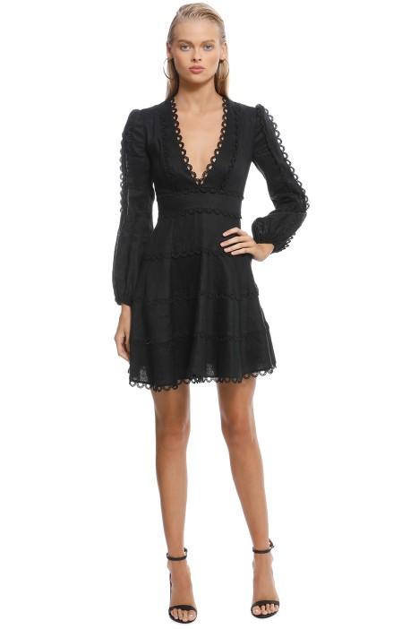 Zimmermann - Heathers Flounce Short Dress - Black - Front