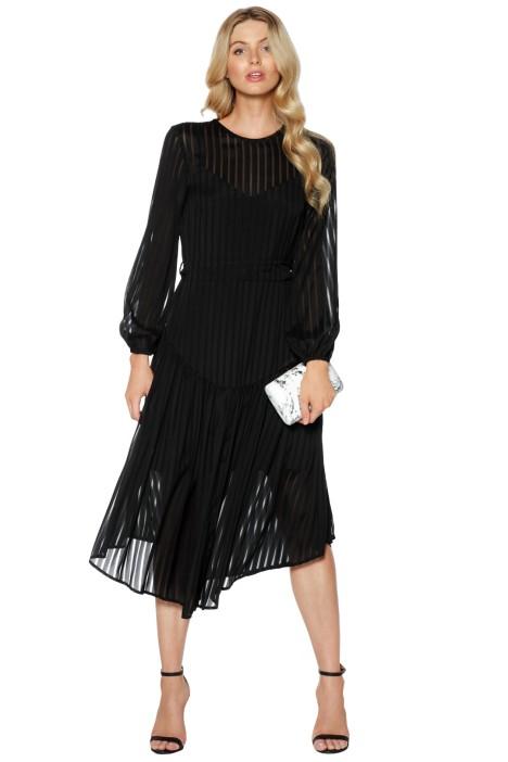 Zimmermann - Lavish Stripe Slouch Dress - Black - Front