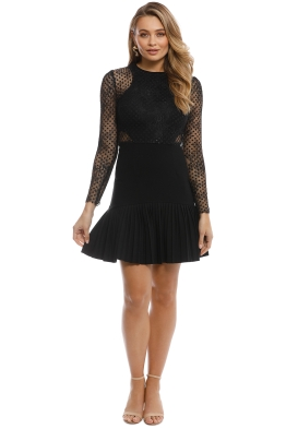 Rebecca Vallance - Spot Lace Mini Dress- Black - Front