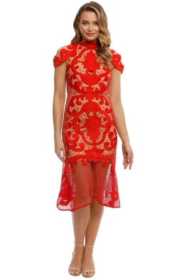 Thurley -  Rose Ceremony Midi Dress - Red - front