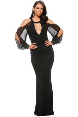 ABS by Allen Schwartz - Shoulder Cutout Gown with Chiffon - Black - Front