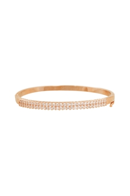 Adorne - Fine Diamante Hinge Metal Bangle - Crystal Rose - Front