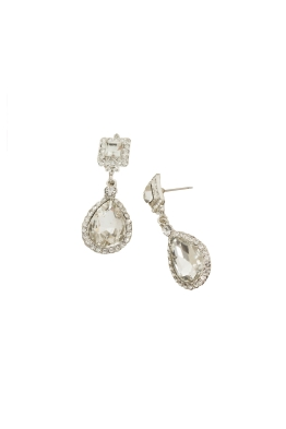 Adorne - 5cm Square and Large Teardrop Earring - Crystal Silver - Front