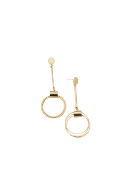 Adorne - 9cm Button and Rings Drop Earring - Gold - Front
