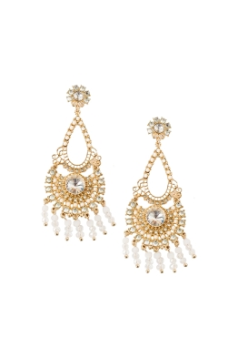 Adorne - Beaded Droplets Diamante Earring - White Gold
