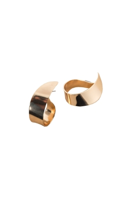 Adorne - Curl Stud Earrings - Gold - Front