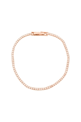 Adorne - CZ Single Strand Diamante Bracelet - Rose Crystal