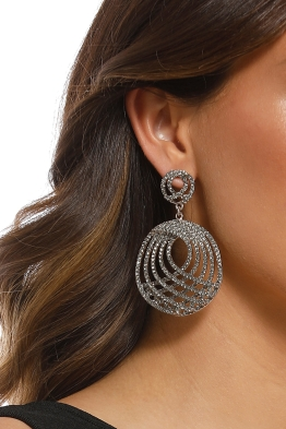 Adorne - Diamante Architectural Curved Earring - Gunmetal Smoke - Product