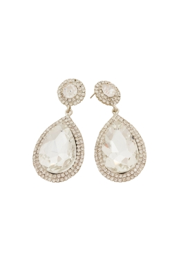 Adorne - Diamante Edge Teardrop Statement Earring - Front
