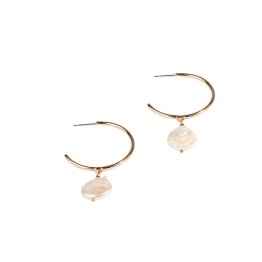 Adorne - Disc Pearl Hoop Earrings - Gold - Product