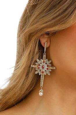 Adorne - Evangelista Cross Earrings - Gold Red - Product
