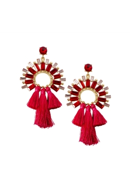 Adorne - Faceted Glass Circle and Three Tassel Earrings - Gold Red